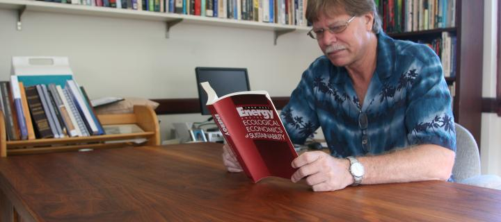 Faculty member doing some reading