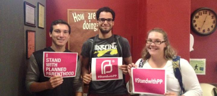 Students defending Planned Parenthood