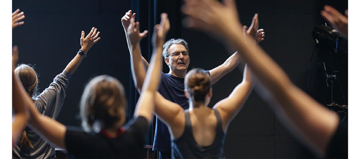 photo of bill evans instructing dancers