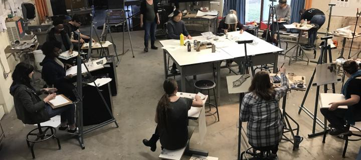 drawing class in session
