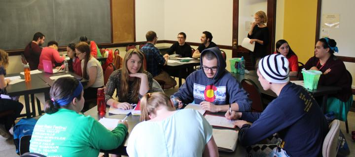 students in education class working in groups