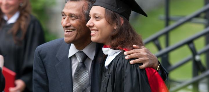 Father and daughter at graduation