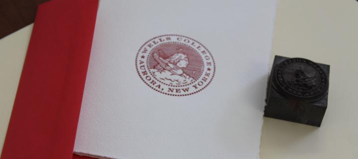 Book Arts example of the Wells College Seal