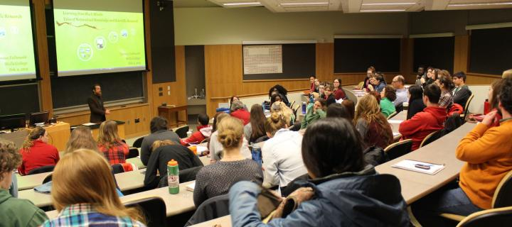 students in stratton lecture hall for presentation