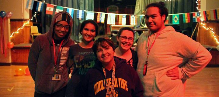 students and decorations at the carnival dance
