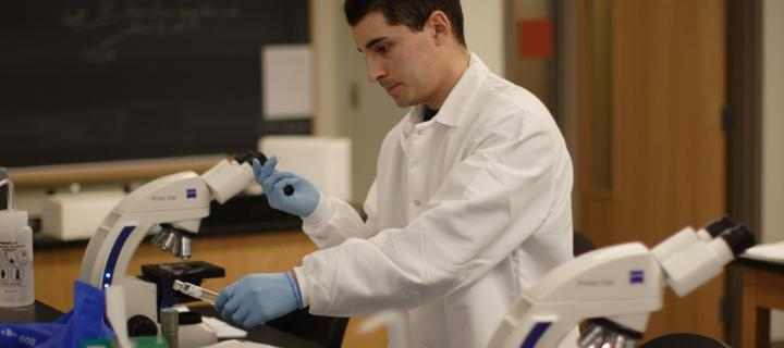 Male student in a lab