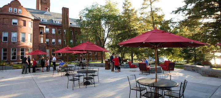 ryerson commons terrace with tables and umbrellas