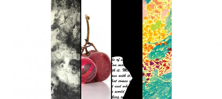 combined images of artworks: includes abstraction, grapes, text obscured by silhouette