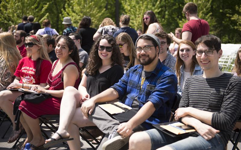 students at commencement rehearsal