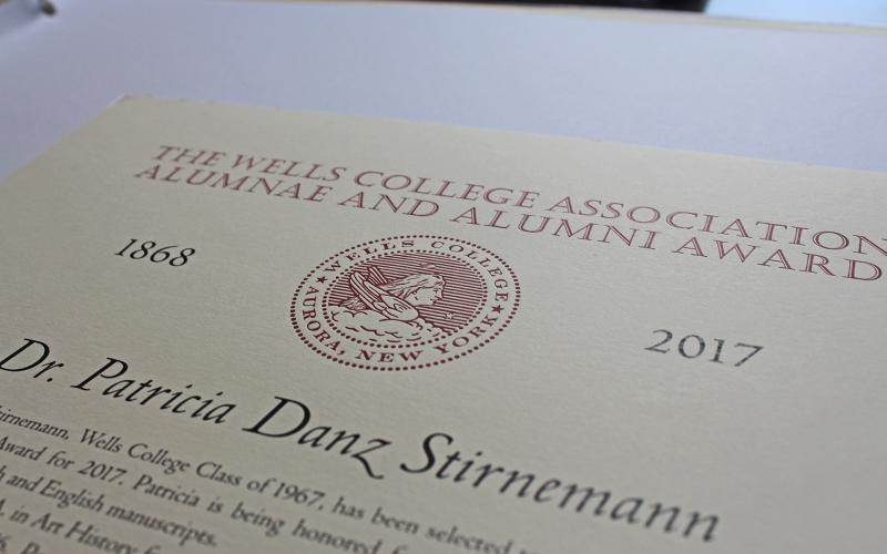 photo of 2017 alumnae award certificate heading with seal