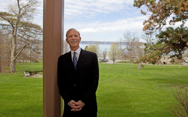 President Gibralter with view of Cayuga Lake