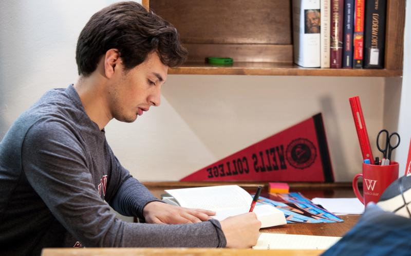 Student studying in residence hall