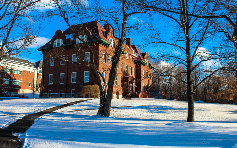 zabriksie hall and snowy campus scene