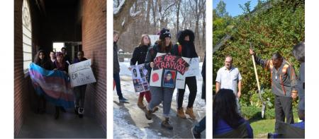 images of students marching and peach tree planting