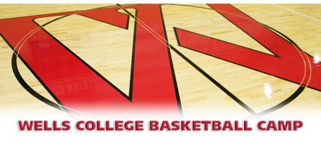 wells logo on basketball court floor