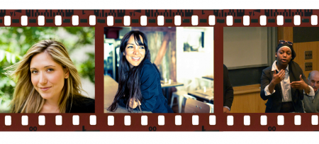 film strip with portraits of sarah prevette, miki agrawal, and student presenter