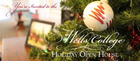 """image of decorated tree with text """"you're invited to the wells college holiday open house"""""""