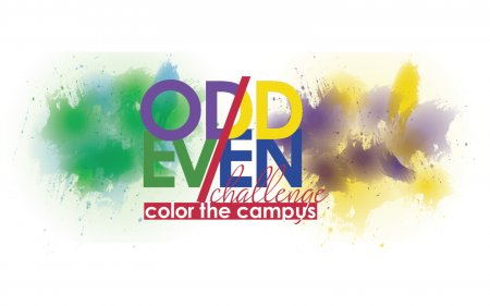 odd even challenge logo with paint splashes