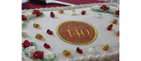 cake with Alumni Association 140th anniversary seal