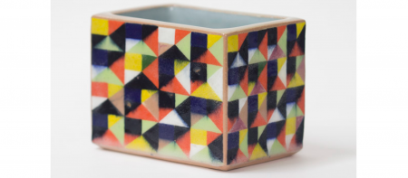 brightly colored sculpted box