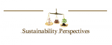 sustainability persectives series logo: scale balancing a person, plant, and currency