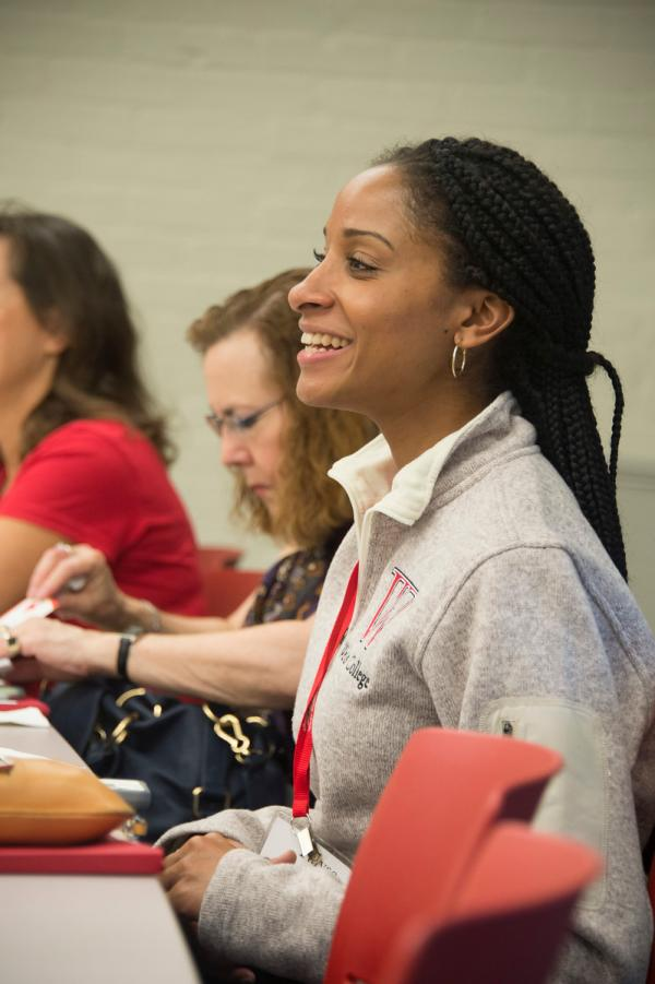 Photo of to alumnae attending student panel