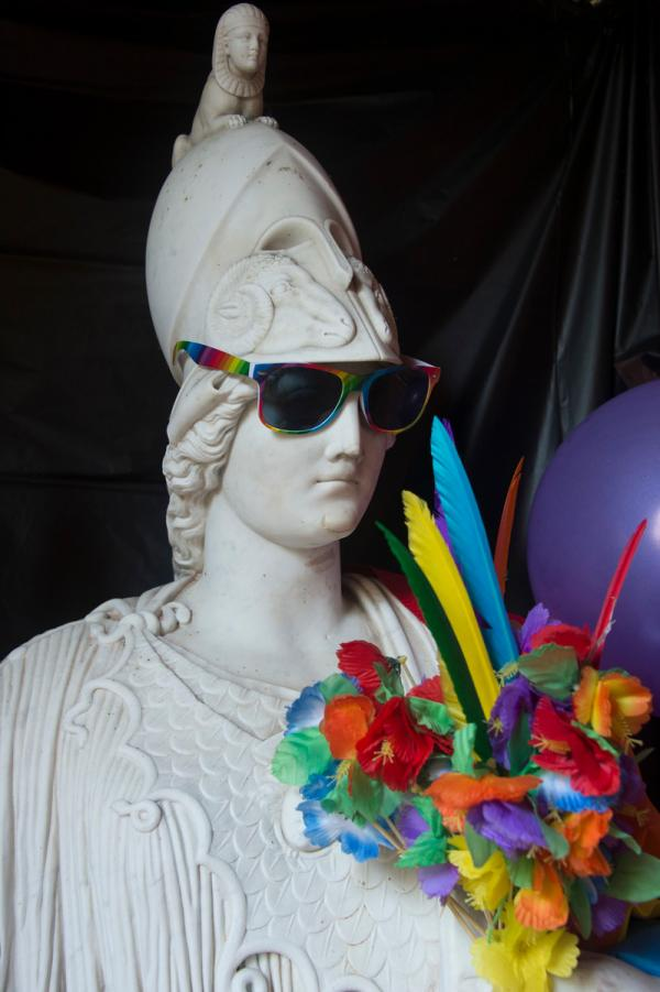 Statue of Minerva with Sunglasses and Flowers