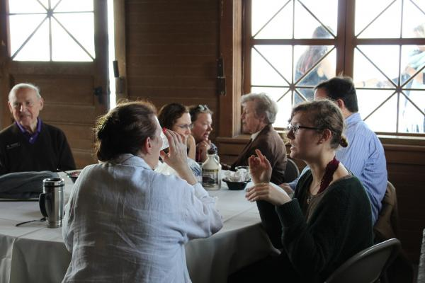 Students speaking with Fal Weekend Visitors in the Boathouse