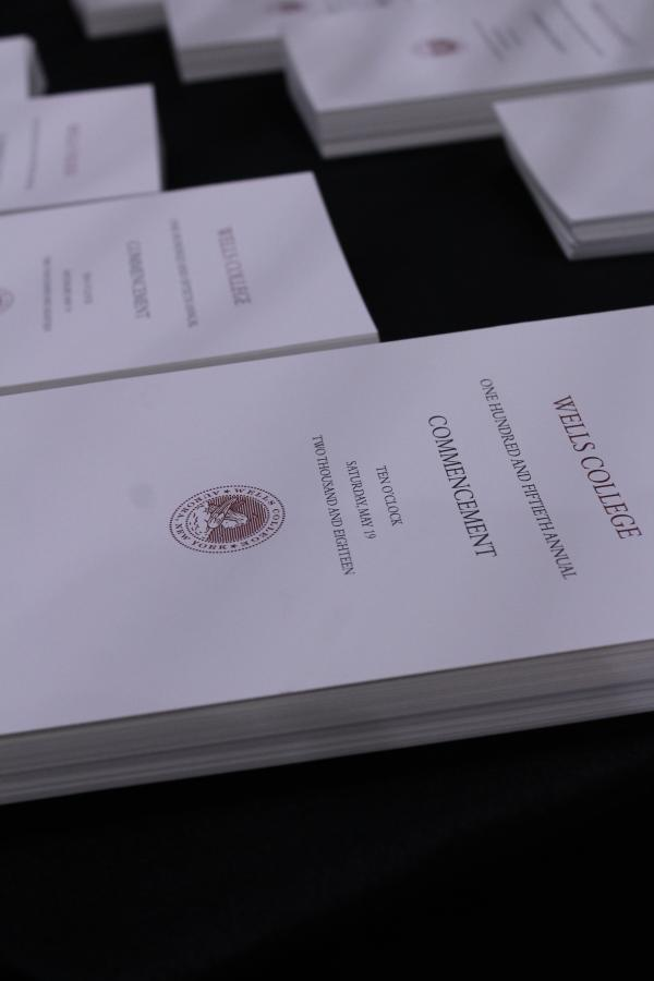 Commencement programs on a table