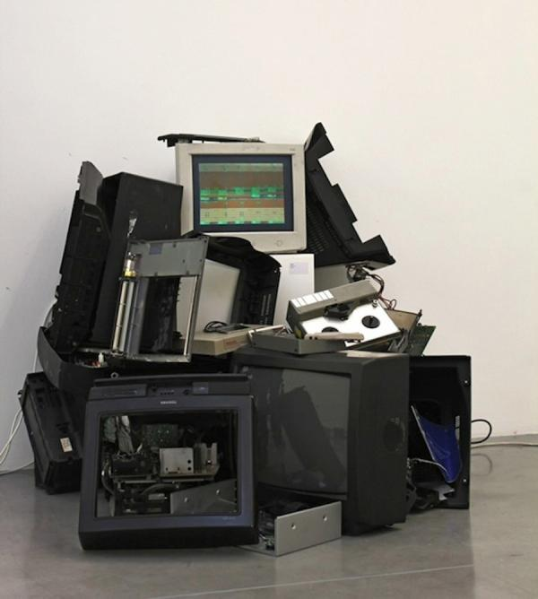 sculpture of monitors
