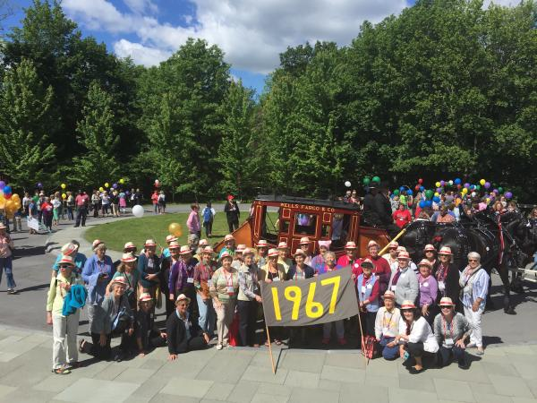 reunion parade with class of 1967 banner