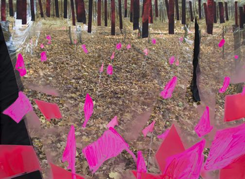 painting with pink flags over landscape by Rita Leduc