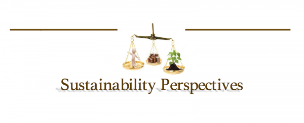 sustainability perspectives logo: scale balancing human, currency and plant
