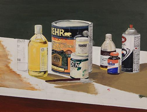 painting of paint materials by John Broughal