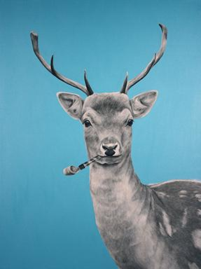 painting of deer witwh party favor by Melissa Hendrickson