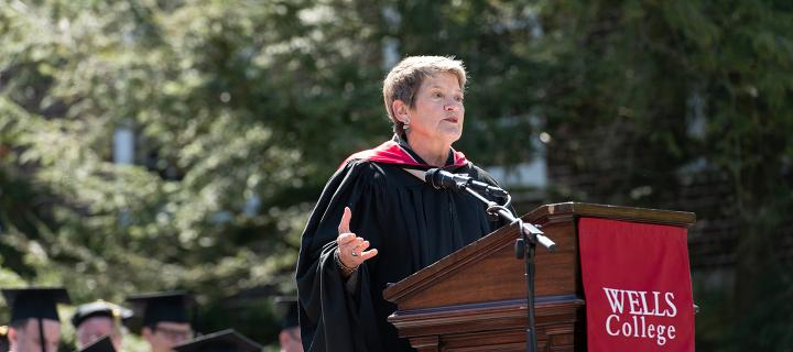 Rebecca Haag '74 gives the Commencement 2019 keynote address