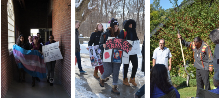 images of students taking part in demonstrations and the peachtown festival tree planting