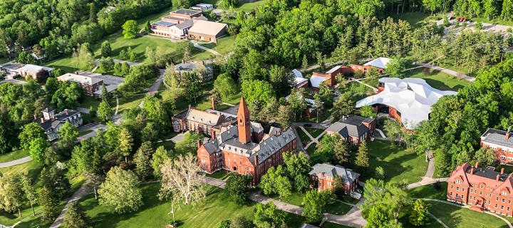 aerial view of the Wells College campus