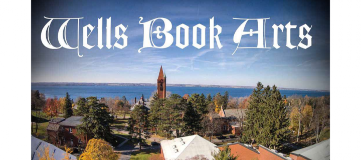 wells book arts text on aerial view of campus