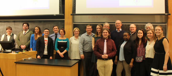 student participants, judges, and President Gibralter in the Stratton lecture hall