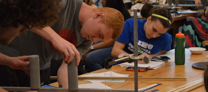 students in a physics lab
