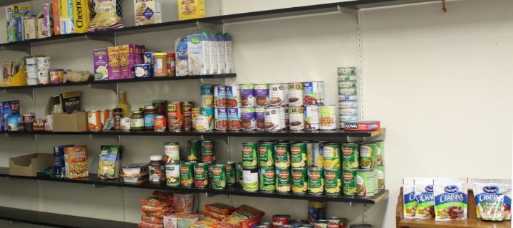 image of shelves stocked with food in the pantry