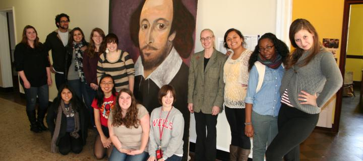 English Students with  painting of Shakespeare