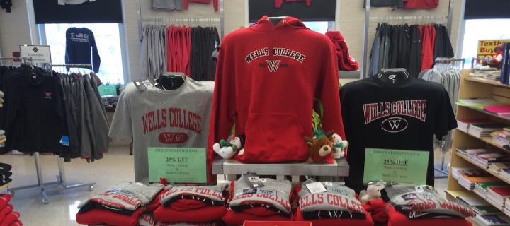 shirt and sweatshirt display in the college store
