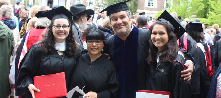 spanish faculty and students in regalia at Commencement