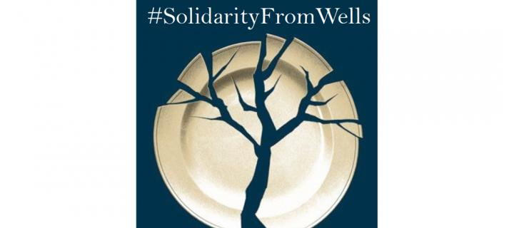 solidarity from wells with image of plate cracked to resemble tree outline