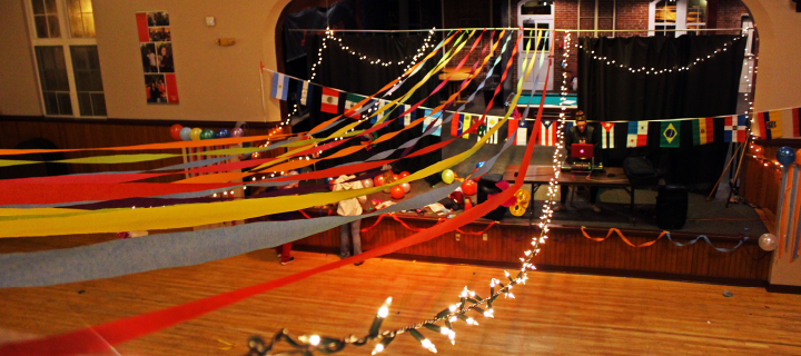 sommer center decorated for hisapnic heritage month dance