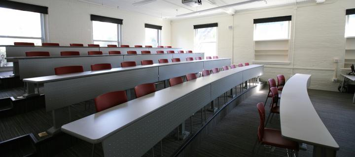 zabriskie lecture room with chairs and long desks
