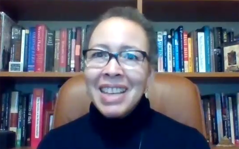 Screenshot of Dr. Beverly Daniel Tatum speaking during virtual event