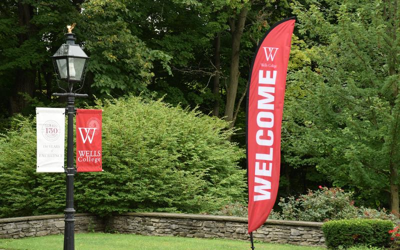 Wells College banners and welcome flag